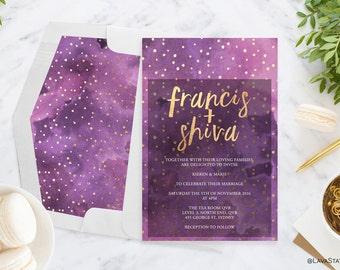 Francis Suite : Printable Wedding Invitation, Purple, Digital Download, Gold Foil, Dots, Watercolour, Calligraphy, Engagement, ANY COLOUR
