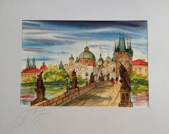 Charles bridge, Vltava river, Old town Prague - Original watercolor painting