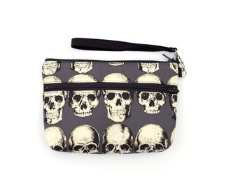 Rad Skull  Wristlet with removable strap - punk rock - rare fabric oop