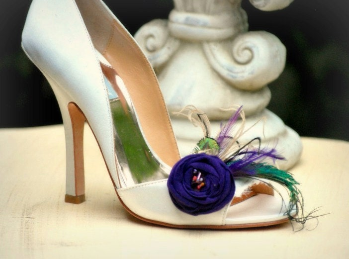 Purple & Green Feathers Shoe Fashion, Clips. StateHommes t Fashion, Shoe Handmade Couture Bride Bridesmaids. Tan Teal Orange Tangerine, Formal Party Shoe Clip 278bf0