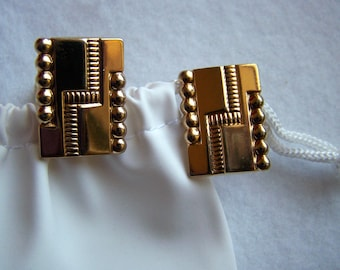 Vintage Cuff Links Gold Toned Classic Shield Styling
