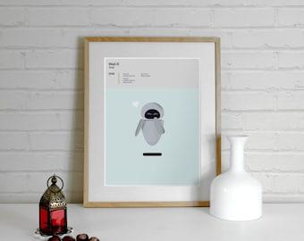 Wall-E Print 'Eve' inspired Disney Pixar Print - A4 Print, Pixar Poster, Movie Poster, Illustration, Minimalist Movie Poster, minimal print