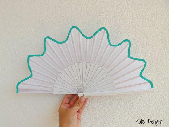 White and Aqua Scalloped Edge Hand Fan