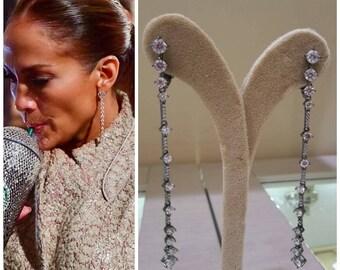 black gold vermeil dangle drop earrings, white zircons, 925 sterling silver