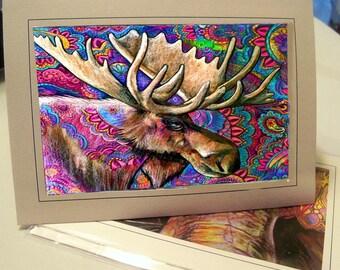 greeting card print of original art- moose meditation Zentangle