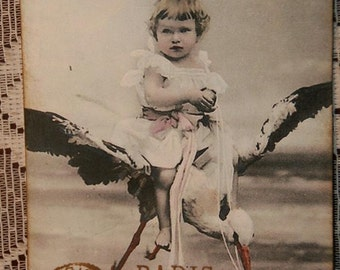 Vintage Postcard Little Girl Riding Stork Gift Tags