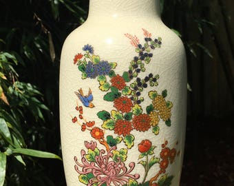 """Vintage Chinoiserie Vase Made in Japan 11"""""""