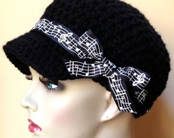 Flowered Musical, Womens Hat, Teen Adult Black Newsboy, Musical Notes Ribbon, Gifts for teachers, Music lovers, Birthdays JE148NR5