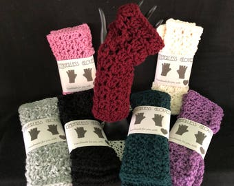 Fingerless texting gloves adult size; winter gloves; many colors ready to ship!