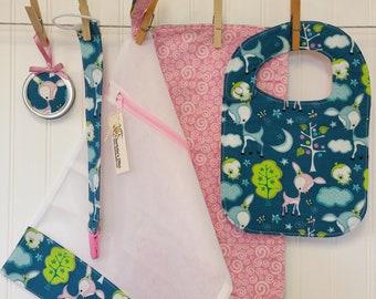 Baby Gift Set, Baby Shower Gift, Baby Deer Theme, Bib & Burp Cloth Set, Mesh Laundry Bag, Pacifier Leash, Binky Strap, Baby Ornament