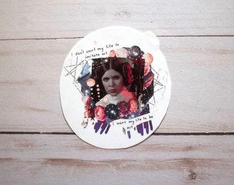 Carrie Fisher Sticker, Matte sticker, Princess Leia, Princess sticker, Star wars gift, gift for artist