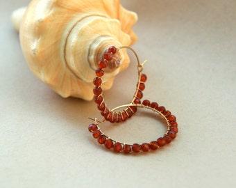 14K Gold filled Hoop Earrings with Carnelian, gemstone earrings