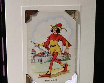 Handmade greetings/birthday card. Genuine vintage playing card, 1937-44. Walt Disney character - Pied Piper - vintage cartoon character.