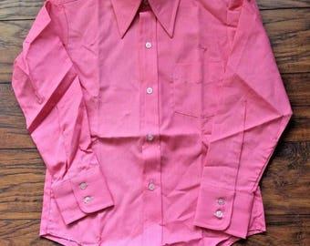 Vintage Retro 60s 70s Disco Marlboro Bubble Gum Long Sleeved Button Front Shirt 10