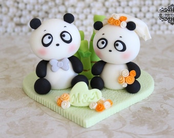 Panda wedding cake topper