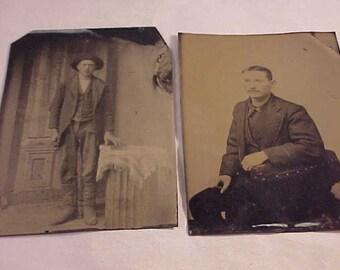 2 Vintage Tin Type Photographs