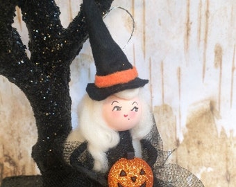Halloween ornament witch ornament blonde hair witch vintage retro inspired art doll halloween witch jack-o-lantern