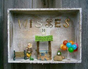 Repurposed Recycled A Penny A Wish Mixed Media Assemblage Shadowbox