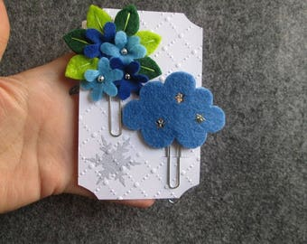 Set of 2 Staples: Starry Cloud and Bouquet; Planner clips, planner accessories, felt bookmarks, Christmas stocking stuffers