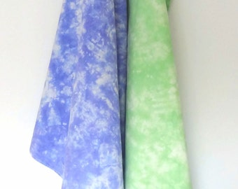 Green and Purple Flour Sack Towels - Set of 2 Tea Towels - Hand-Dyed Dish Towels, Tie Dye Towels