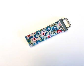 Chapstick Lip Balm Cozy Keychain-Grey with Pink Flowers