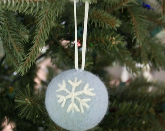 Needle Felted  Ornament Sculpture  Ice Blue Black Friday Sale
