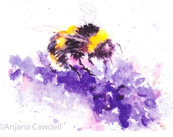 Bee on lavender - blank greetings card, Printed card, Watercolour painting, Watercolor Art, Floral design, Bumble bee, Wildlife card