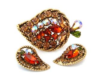 WEISS Brooch Earrings Set | Autumn Rhinestone Leaf Demi Parure | Signed Vintage 1950s Jewelry