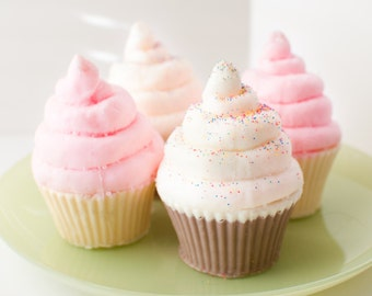 Cupcake Soap with glitter sprinkles Pink Soap - cute soap - kid soap -  gift for her - strawberry
