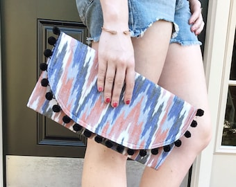 Handwoven Ikat & Pom-Pom Summer Foldover Clutch - Gift for her, Birthday, Anniversary, Bridesmaid