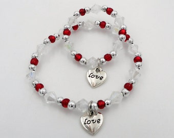 Valentines Day charm bracelets Little girl and 18' doll matching bracelets red love charm