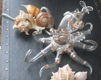 Steampunk Octopus Lampwork Borosilicate Sculptural Light