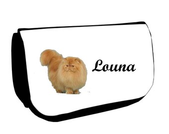Black Persian /crayons make-up case personalized with name