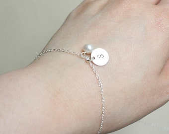Cute small single disk Bracelet  with freshwater pearl  - All Sterling Silver, engraved initial bracelet, Cute simple wear, personal gift