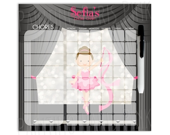 Ballet Personalized Dry Erase Chore Chart | Custom with 5-7 Days of the Week | Dancer