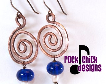 Spiral copper earrings, medium 2 inch length, with recycled Skyy vodka, Jagermeister, Bailey's Irish cream, or Myers's rum bead dangle