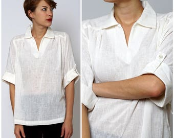Vintage 1970s White Oversized Gauzy Cotton Notch Tunic Top by Teddi | Small/Medium