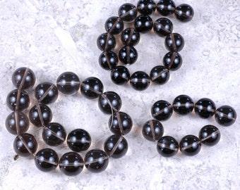 Designer DESTASH! AA Round Smoky QUARTZ beads 18mm, 16mm, 15mm destash lot
