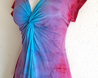 Pink, Purple and Blue, Ombre Dyed, Twisted Front Tee, with capped or 3/4 length sleeves