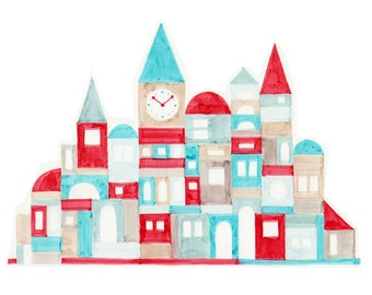 Nursery Art Colorful Red and Blue Geometric Buildings Oversized Illustration Print