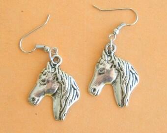 The HORSE Earrings....pierced ears. kitsch. retro. stables. farm animals. horse lover. rider. stallion. handmade. unique. farm. silver horse