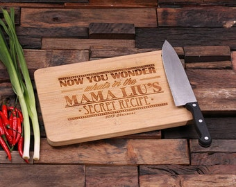 100 Personalized Wood Cutting Chopping Board Engraved Monogrammed Thanksgiving, Christmas Family Reunion (024186)