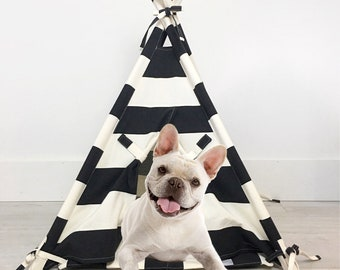 Pet Teepee Tent in Black and Natural Canvas Fabric