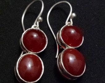 Sterling Silver Carnelian Drop Earrings (92sil)