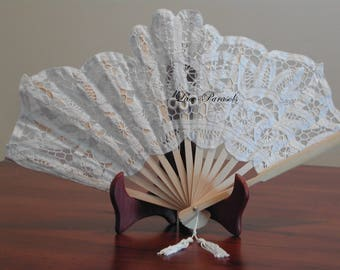 White Battenburg Lace Fan