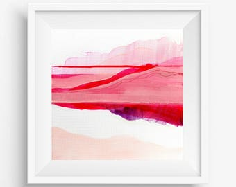 Digital Print, Abstract Printable Art, Abstract Art Print, Square Abstract Print, Pink Red White Abstract Landscape - Meditation on Love 1