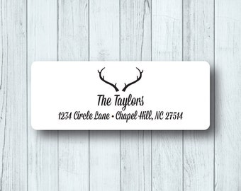 Deer Head Custom Return Address Labels - Personalized Rustic Antlers - Wedding, Marriage Stickers - Matte White, Kraft, or Clear Gloss