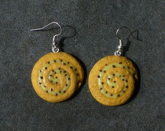 Bread in polymer clay grape earring