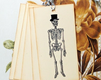 Halloween Tags Goth Skull Skeleton Top Hat Vintage Style Gift Tags Treat Bag Tags TH016