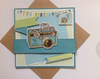 Handmade card, 3D, happy birthday greeting card, all occasions, camera, pictures